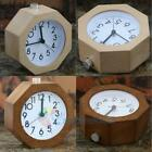 Cute Portable Bed Compact Travel No Ticking Table Desk Wooden Alarm Clock Snooze