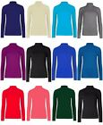 NEW LADIES ROLL TURTLE NECK STRETCH VISCOSE LONG SLEEVE BODYCON T SHIRT TOP