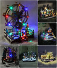 New LED Light Up Christmas Village Scene Ornament Moving Musical Xmas Decoration