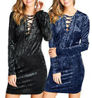 Long Sleeve V-Neck LACE-UP ICE VELVET Bodycon Dress S ~ L