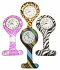 black fob watch - Nurses Fashion Coloured Patterned Silicone Rubber Fob Watches Infection Control