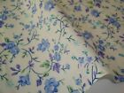 Blue Purple Green Floral Vine Ivory Off White Poly Cotton Shabby Chic Fabric FQ