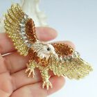 Unique Animal Bird Eagle Brooch Pin Rhinestone Crystal Pendant Art Deco EE04717