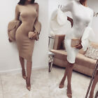 Us Womens Elegant Long Petals Sleeve Bodycon Casual Party Evening Cocktail Dress