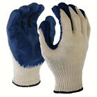 12 Pairs Natural 10 Gauge Poly Cotton Blue Latex Palm Coated Working Glove