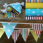 3M -12M JILPI ACE PARTY FABRIC BUNTING, RED YELLOW BLUE GREEN, STRIPES & SPOTS!