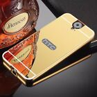 For HTC One M7 E9 Plus X9 U Play 728 Mirror Back Cover Metal Aluminum Frame Case