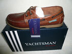 Mens Deck Boat Shoes Leather Brown  by Yachtsman Brand New Sizes 7-12