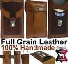 HANDMADE GENUINE LEATHER WAIST BAG WITH 2 POCKETS - POUCH CASE FOR MOBILE PHONES