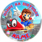 Super Mario Odyssey Personalised Round Edible Icing Cake Topper, 3 Sizes