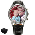 PERSONALISED CUSTOM GENTS MENS WRIST WATCH YOUR FAMILY PHOTO GIFT ENGRAVING