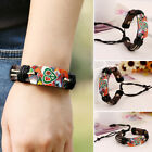 Men Women Brown Leather Punk Leather Wrap Braided Strap Cord Bangle Bracelet