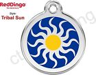 Red Dingo TRIBAL SUN Engraved Dog ID Pet Tag / Charm - Stainless Steel & Enamel