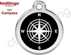 Red Dingo COMPASS Engraved Dog ID Pet Tag / Charm - Stainless Steel & Enamel