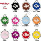 Red Dingo FISH Engraved Dog ID Pet Tag / Charm - Stainless Steel & Enamel