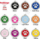 Red Dingo PAW PRINT Engraved Dog ID Pet Tag / Charm - Stainless Steel & Enamel