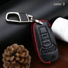 Genuine Leather Car Key Cover Holder Chain Case Fob For Ford Remote 3 Buttons