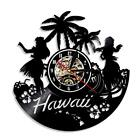 Summer Time USA Hawaii Vinyl Wall Clock LED Palm Tree Clock Backlight Night Lamp