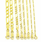 "Real 14K Yellow Gold 2mm- 8mm Italian Figaro Link Chain Pendant Necklace 16""-30"" image"