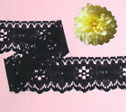 "Black Lace Trim 12-24 Yards Vintage 1-1/2"" Floral P12AV Added Trims ShipFree"