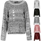 Womens Ladies Chunky Cable Knit Oversized Destroyed Distress Ripped Baggy Jumper