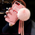 For iPhone X 7 8 Plus Cute Hello Kitty Soft Card Case Cover & Plush Ball Lanyard