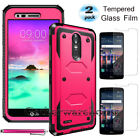 REFINED ARMOR Rugged Shockproof Phone Case Cover+Tempered Glass Screen Protector