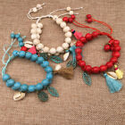 Two Layer Multi Color Stone Beads Tassel Decorated Bracelet For Women Adjustable