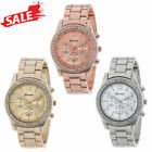 Jewelry Watches - Bracelet Band Foldover Clasp Classic Round Ladies Womens Crystals Quartz Watch
