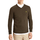 Lyle & Scott Olive Green Marl V Neck Lambswool Knit Jumper KN415V