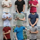 New DSRY Men's Slim Muscle Fit Gym Designer Plain T Shirt Curved Hem Tee Top