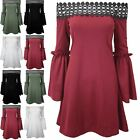 Womens Ladies Lace Trim Off Shoulder Bardot Bell Frill Sleeve Swing Mini Dress