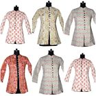 Cotton Women Quilted Hand Block Print Coat Blazer Reversible Jacket