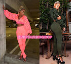 (A) Women Two Piece Set Hooded Crop+Pants Long Ruff Sleeve Sexy Casual Jumpsuit