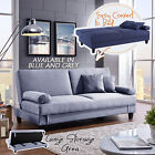 Three Seater Corner Futon Sofa Bed Chaise Couch Lounges Suite Storage Grey Blue