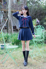 Japanese School Girls Sailor Navy JK Uniform Fancy Dress Cosplay Costume Outfit