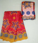 Hot sale african bazin riche fabric set , 5 yards plus 2 yards lace for wedding