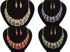 LADIES & WOMENS CRYSTAL BIB STATEMENT CHUNKY NECKLACE AND EARRING SETS UK