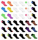 6 Pack Women's Low Cut No Show Ankle Socks White Black Neon Wholesale lot 9-11