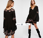 FREE PEOPLE  M+L  Te Amo Embroidered Mini Dress Black New Tags