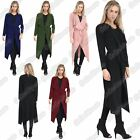 New Ladies Long Sleeve Waterfall Plain Crepe Cardigan Belted Trench Coat Jacket