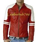 New Men's Jacket New Style Biker Motorcycle Lambskin Red Pure Leather Bomber 326