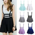Women Mini Skater Suspender Cute Skirt Straps Hollow Retro High Waist Dress SH