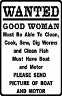 """FUNNY FISHING vintage HUMOUR """"GOOD WOMAN WANTED"""" METAL SIGN / PLAQUE great gift"""