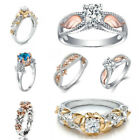 Lot 925 Sterling Silver Rings White Sapphire Topaz Flower Bridal Party Size 6-10
