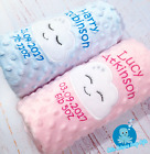 PERSONALISED BABY BLANKET DIMPLE EMBROIDERED SOFT CLOUDS BLUE PINK BABY GIFT