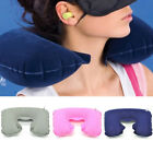 Carry Inflatable Support Soft Suede Rest Neck Cushion Head U Shaped Air Pillow