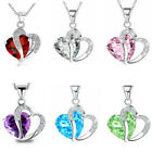 Women Fashion Cheap Silver Crystal Heart Pendant Rhinestone Necklace Jewelry