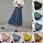 High Waist Casual Faux Suede A-Line Maxi Long Skirt Dress Vintage Chic Simple