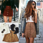 Fashion Women's High Waist Lace Up Suede Leather Pocket Preppy Short Mini Skirt